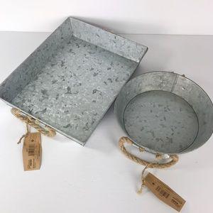 Two Galvanized Metal trays Brand New Farmhouse